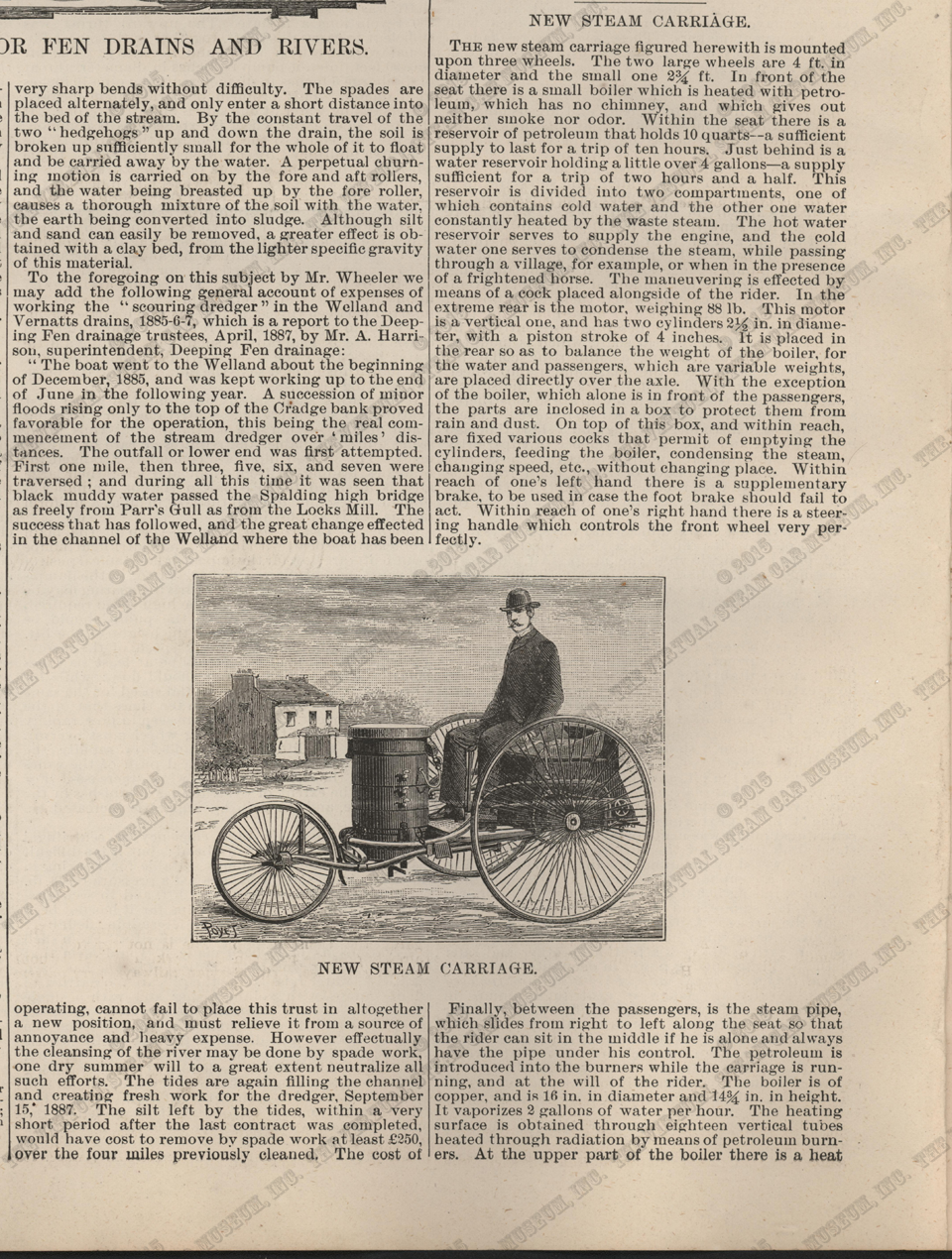 Steam Carriage, Scientific American Supplement, December 17, 1887, La Nature, p. 9962