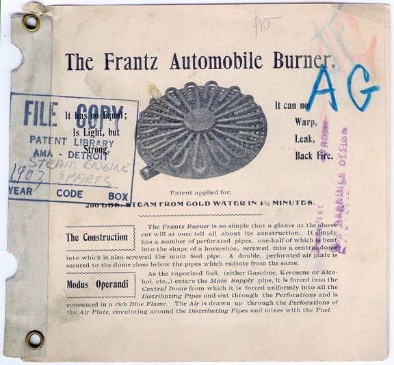 Franz Automobile Burner Brochure