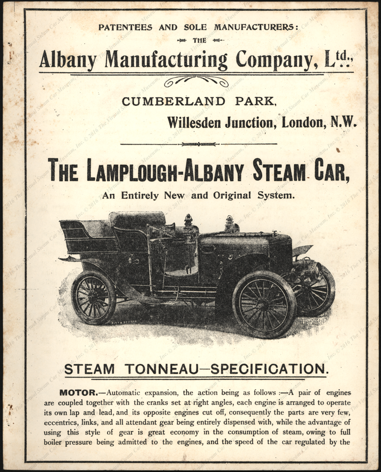 Albany Manufacturing Company, Ltd., London, 1903)Lamplough-Albany_steam_car, Trade Catalogue, P. 01