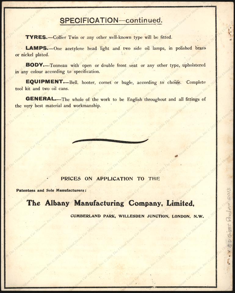 Albany Manufacturing Company, Ltd., London, 1903)Lamplough-Albany_steam_car, Trade Catalogue, P.04