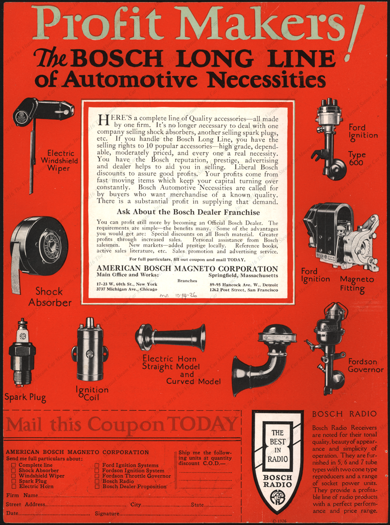American Bosch Magneto Corporation, October 24, 1926, Profit Makers Flyer , Reverse