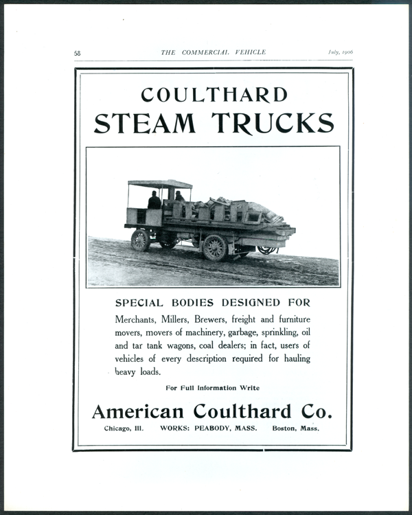 American Coulthard Company, Magazine Advertisement, July 1906, The Commercial Vehicle.