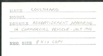 American Coulthard Company, Steam Trucks, The Commercial Vehicle, July 1906