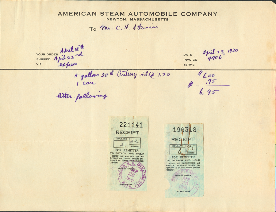 American Steam Automobile Company, Invoie from Derr to Atkinson