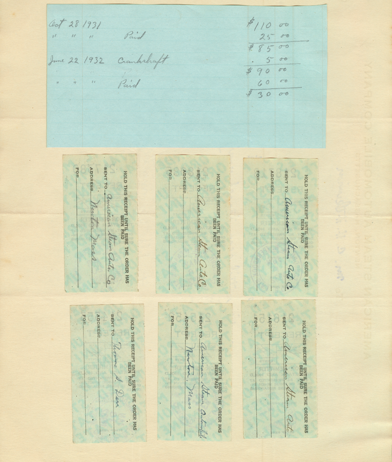 American Steam Automobile Company, Invoice from Derr to Atkinson