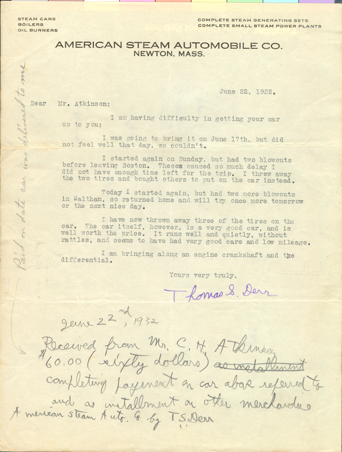 American Steam Automobile Comany, Letter from Derr to Atkinson 1932 June