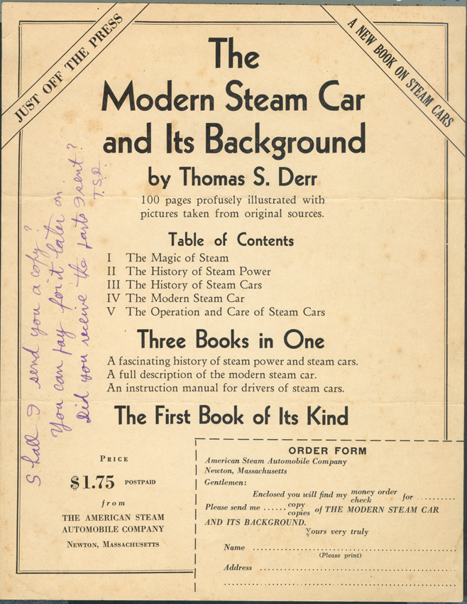 American Steam Automobile Comany, Derr signed flyer for book to Atkinson