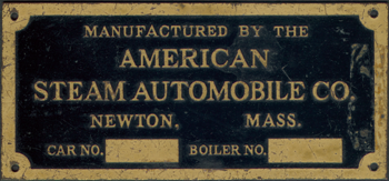 American Steam Automobile Company, Thomas Derr, Name Plate
