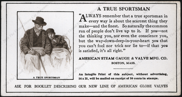 American Steam Gauge and Valve Manufactguring Company, ca: 1920 Blotter, A True Sportsman