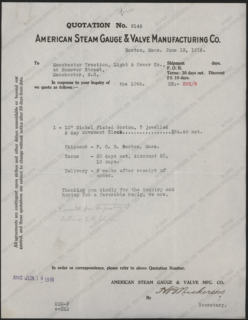American Steam Gauge & Valve Company letter to Manchester Traction, Power, and Light Company about a clock