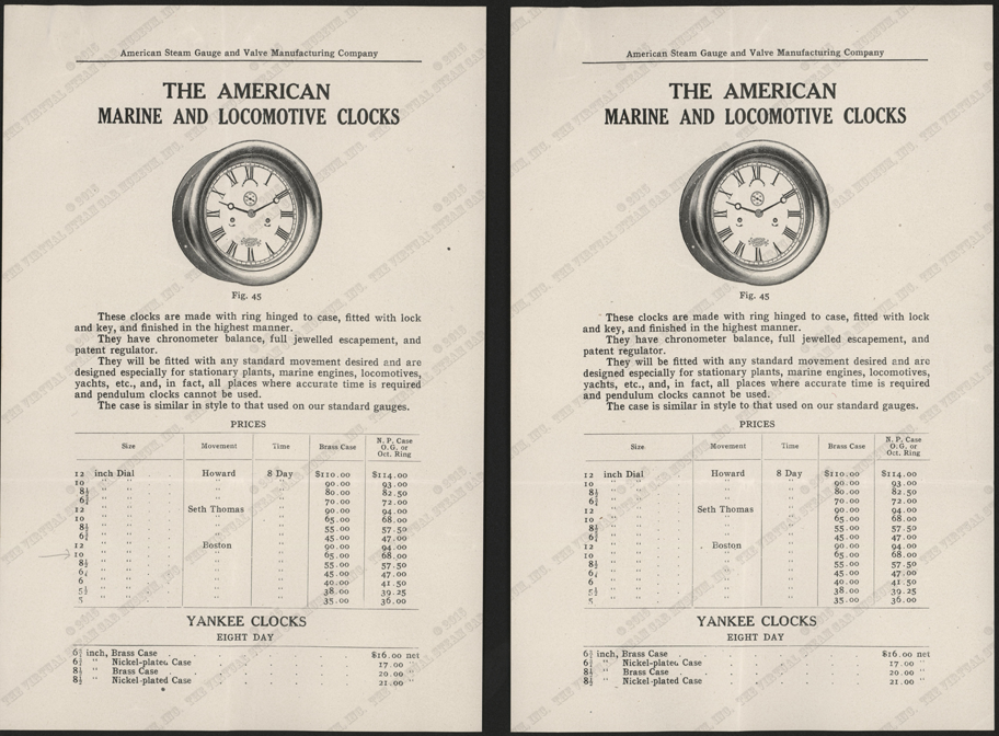 American Steam Gauge & Valve Company letter to Manchester Traction, Power, and Light Company, Clock Trade Catalolgue