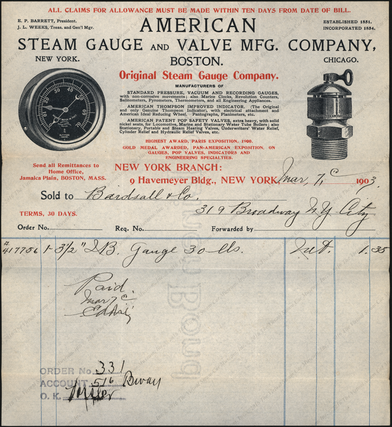 American Steam Gauge and Valve Manufacturing Company invoice, March 7, 1903