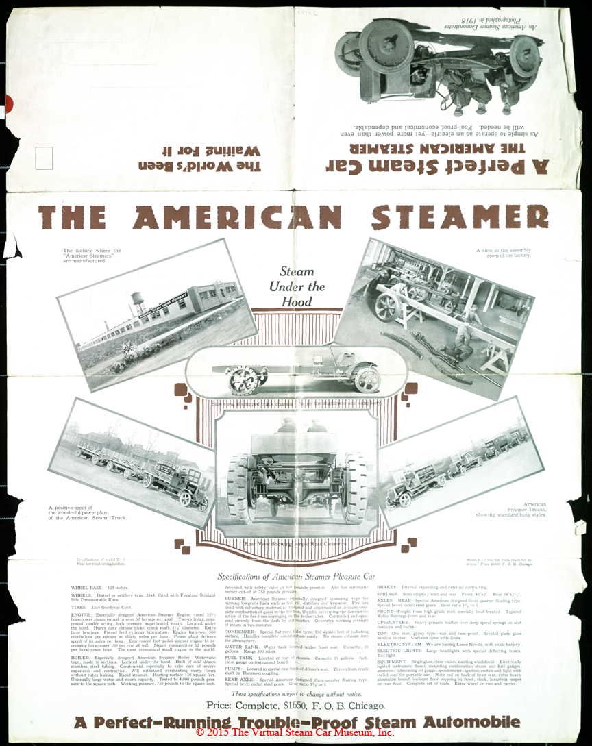 American Steam Truck Company, Automobile Division, ca: 1920 Advertising Brochure Front