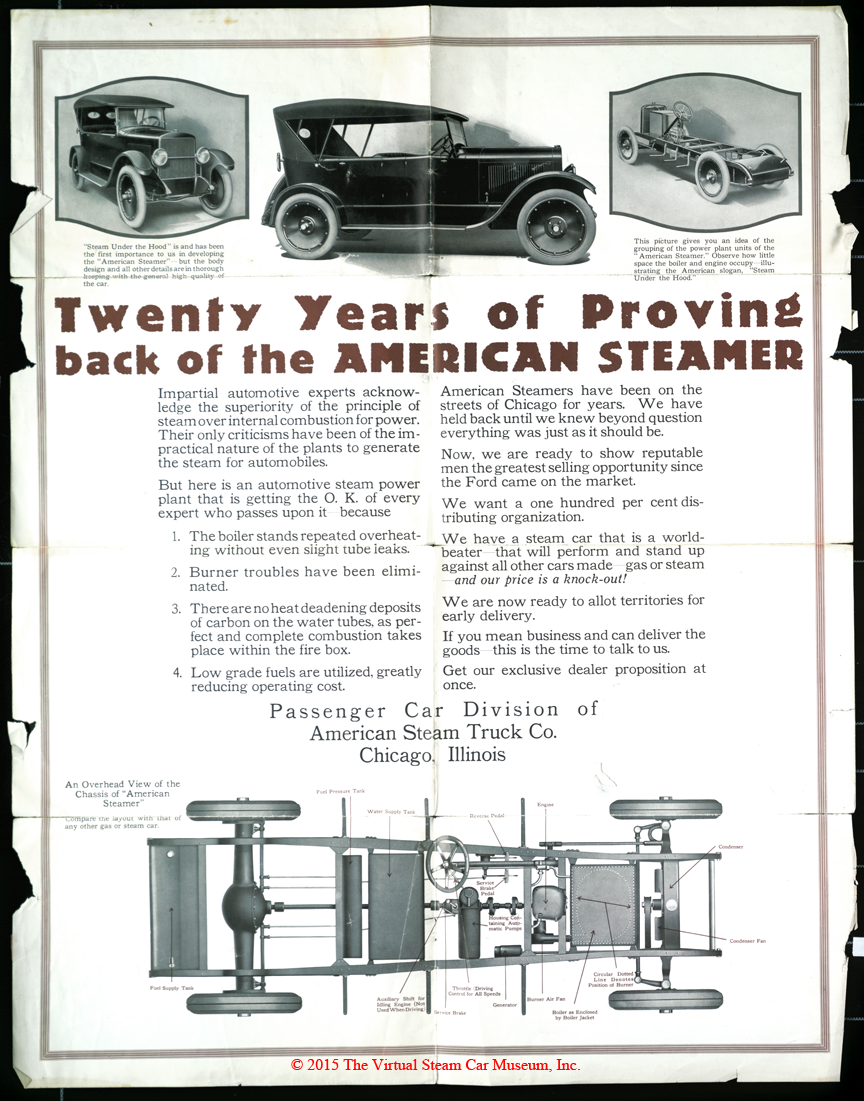 American Steam Truck Company, Automobile Division, ca: 1920 Advertising Brochure Reverse