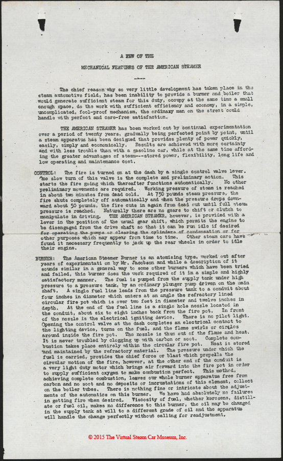 American Steam Truck Company, ca: 1920 - 1921, Mechanical Features Letter, p. 1