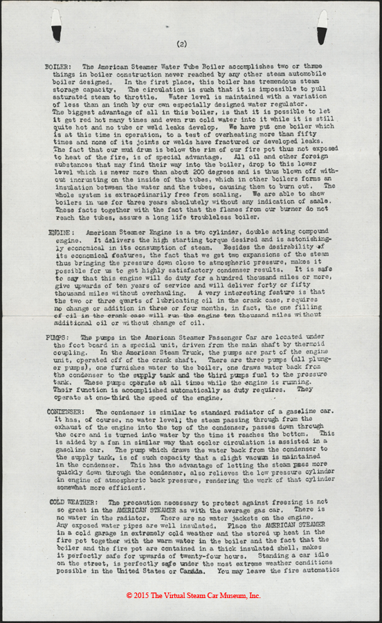 American Steam Truck Company, ca: 1920 - 1921, Mechanical Features Letter, p. 2