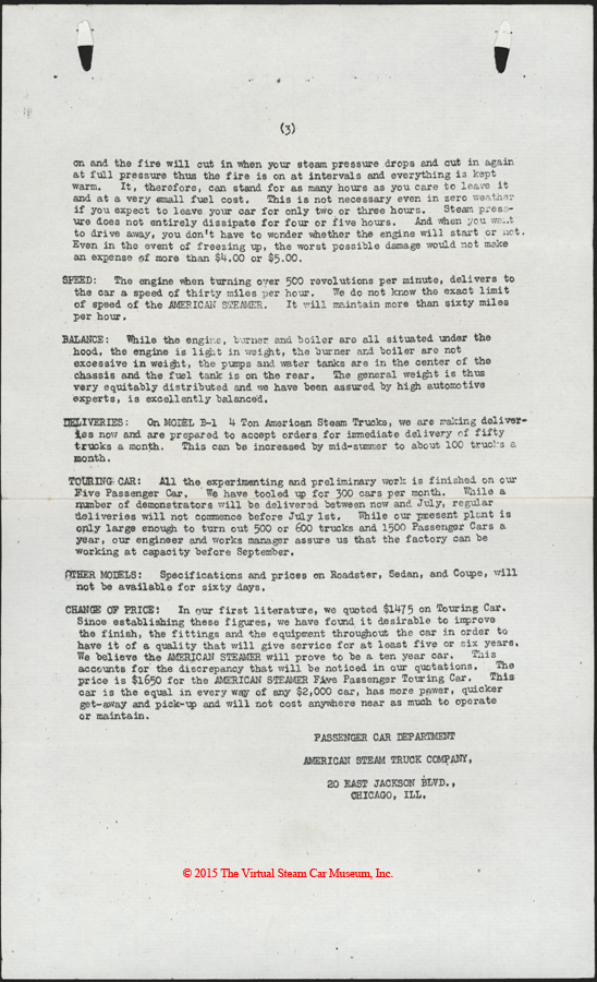 American Steam Truck Company, ca: 1920 - 1921, Mechanical Features Letter, p. 3