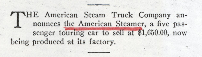 American Steam Truck Company, Magazine Article, American Automobile Digest, October 1922, p. 83, Photocopy, Conde Collection.