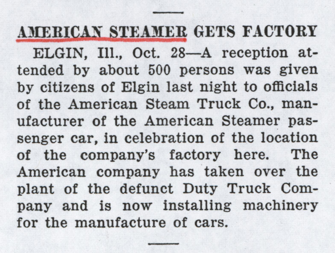 American Steam Truck Company, Magazine Article, Motor Age, November 2, 1922, Photocopy, Conde Collection.