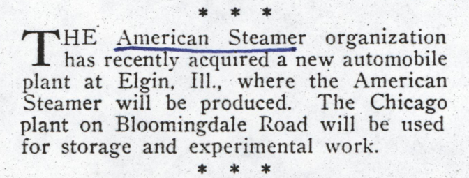 American Steam Truck Company, Magazine Article, Motor Magazine, December 1922, p. 60, Photocopy, Conde Collection.