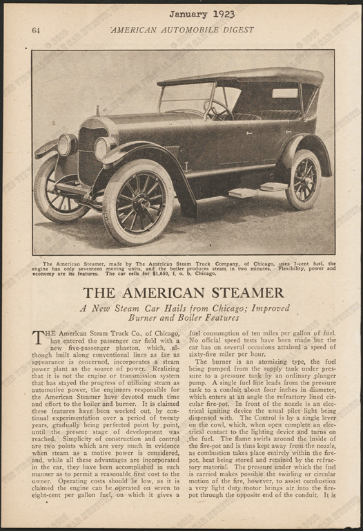 American Steam Truck Company, Magazine Article, American Automobile Digest, January 1923, pp. 64-70, Conde Collection