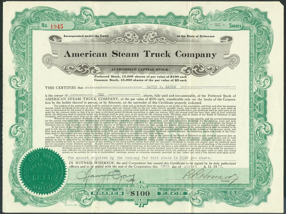 American Steam Truck Company, August 25, 1923, Stock Certificate, Front