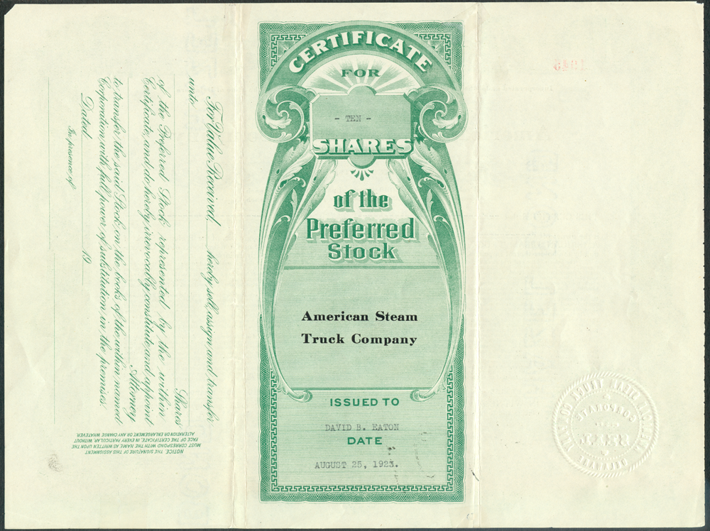 American Steam Truck Company, August 25, 1923, Stock Certificate, Reverse