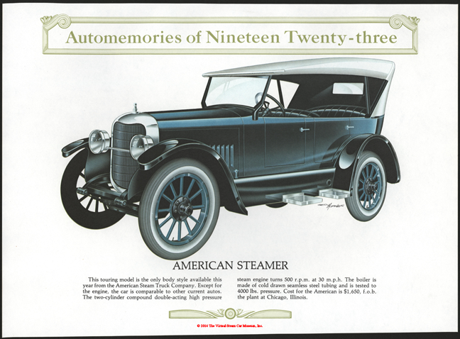 American Steam Truck Company automobile, 1923, Automemories Calendar, George Morales