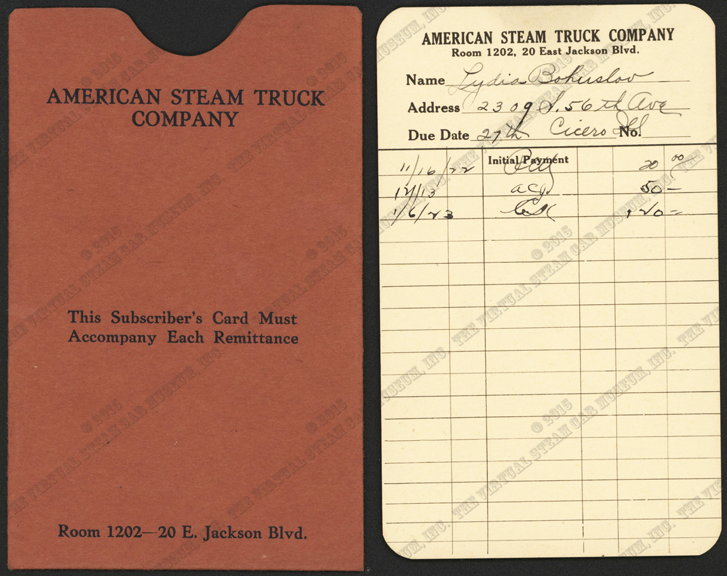 American Steam Truck Company, Subscribers Card and Carrier November 16, 1922, Lydia Bohuslav