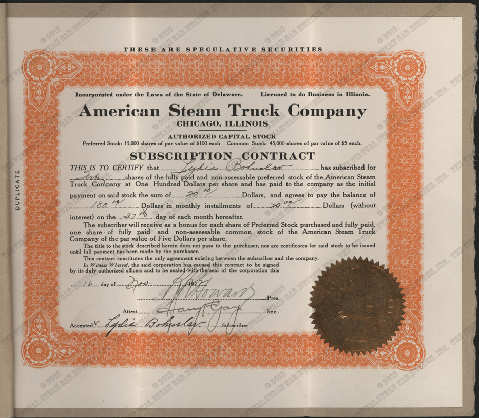 American Steam Truck Company, Subscription Contract, November 16, 1922, Lydia Bohuslav