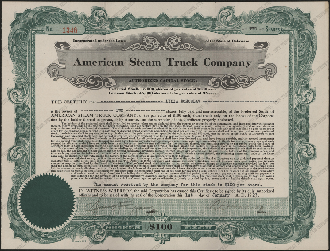American Steam Truck Company, Preferred Stock Certificate, January 1, 1923, Lydia Bohuslav