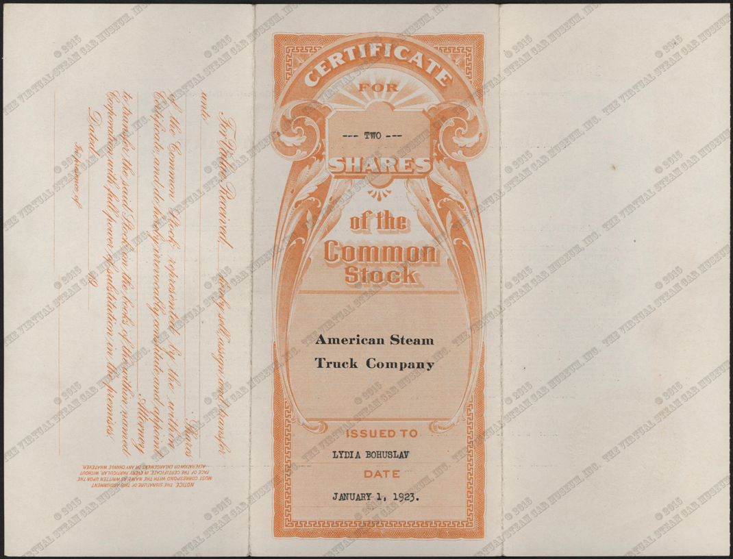 American Steam Truck Company, Common Stock Certificate, January 1, 1923, Lydia Bohuslav