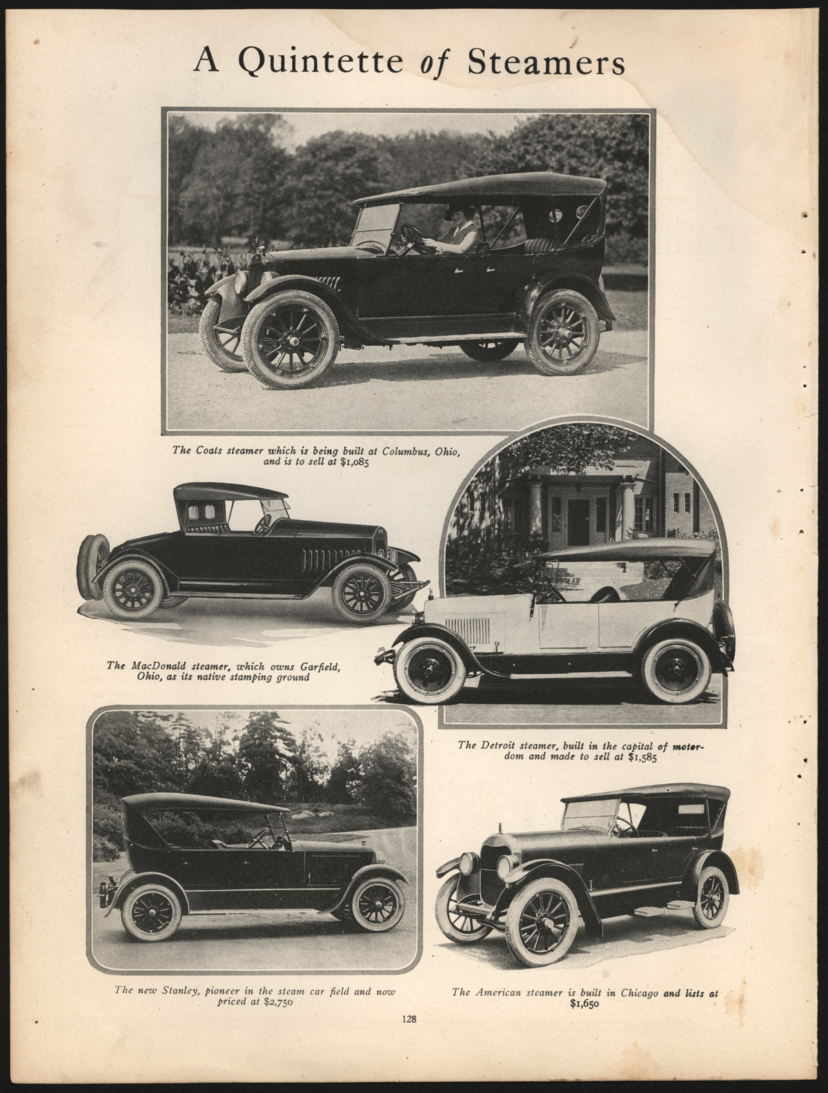 American Steam Truck Company, Passenger Car Department, American Steamer, January 1923, Motor Magazine, p. 128