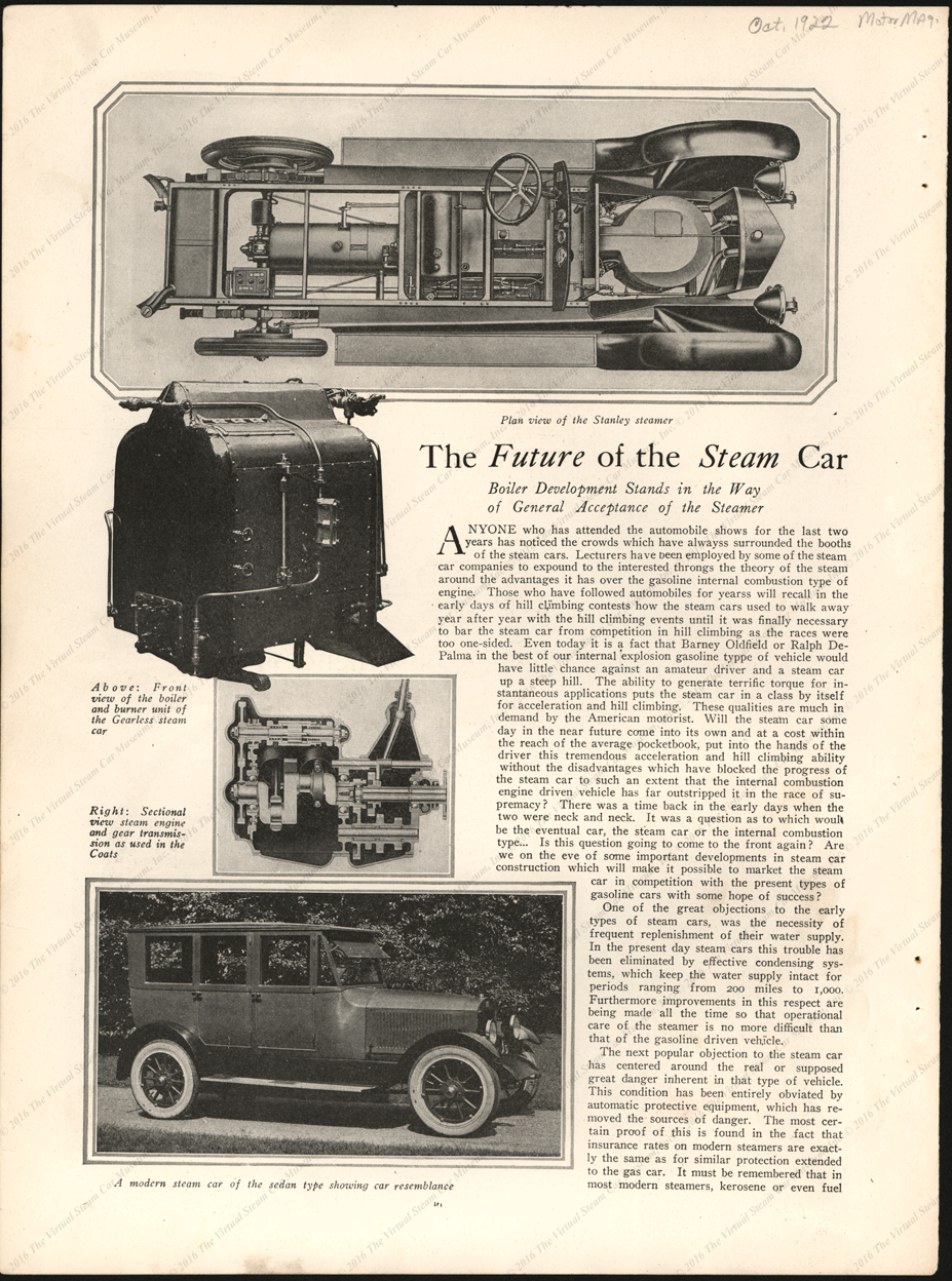 The Future of the Steam Car, Motor Magazine Article, October 1922, p. 46.  American Steam Truck Company, American Steamer.