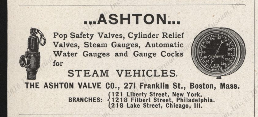 Ashton Valve Company Magazine Advertisement, Horseless Age, April 25, 1900