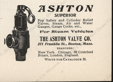 Ashton Valve Company Magazine Advertisement, Horseless Age, November 29, 1905, page xxxiv