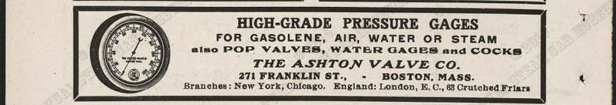 Ashton Valve Company Magazine Advertisement, Cycle and Automobile Trade Journal, November 1907, p. 392