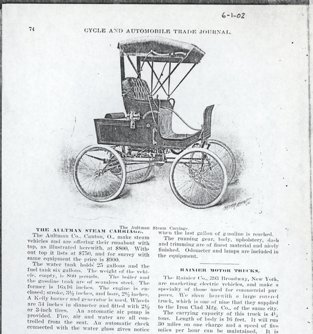 Aultman Company, Henry J. Aultman Steam Carriage, June 1, 1902, Cycle & Automobile Trade Journal, p. 74