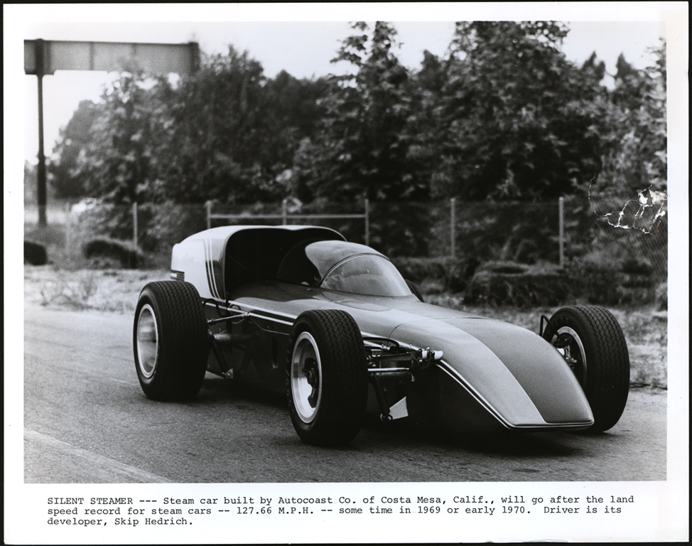 utocoast Company Steam Racing Car, ca: 1969, Skip Hendrick Developer and Driver, Front