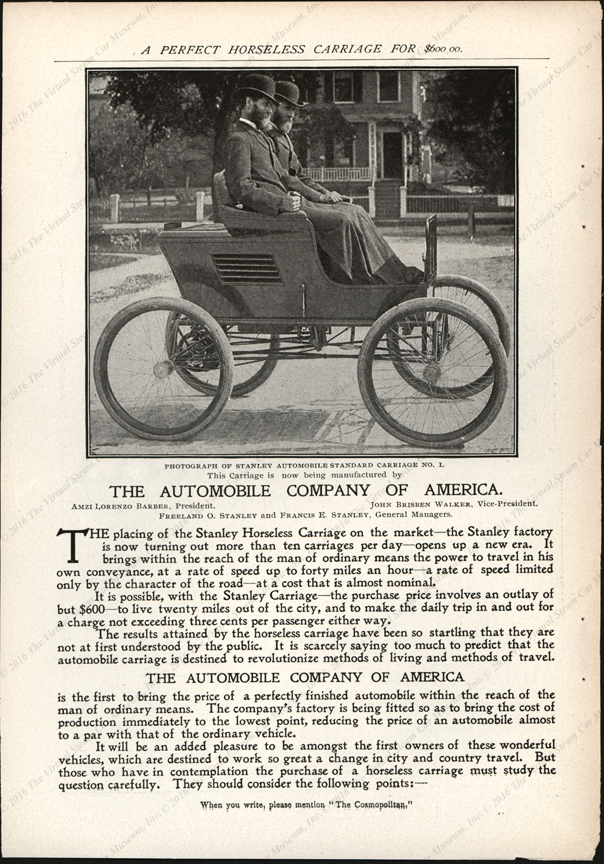 Automobile Company of America, July 1899, Cosmopolitan Magazine, Four Page Advertisement