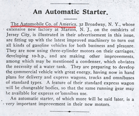 Automobile Company of America, Conde Collection, Magazine Article, Horseless Age, Vol. 5, No. 16, p. 65, Photocopy, Conde Collection.
