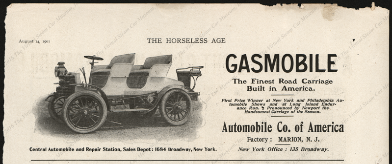 Automobile Company of America, Horseless Age, August 14, 1901, Vol. 8, No. 20, page v