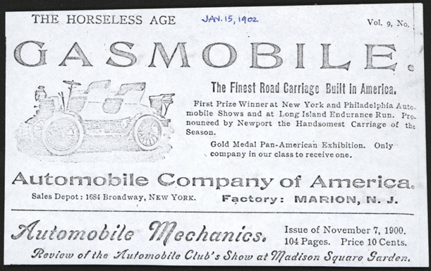 Automobile Company of America, Conde Collection, Horseless Age Magazine Advertisement, January 15, 1902, Vol. 9, No. 2. Photocopy Conde Collection