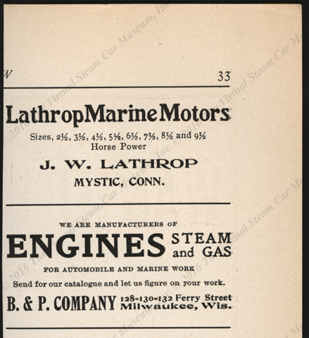B and P Company, Milwaukee, WI, Steam Engine Manufacturer's,