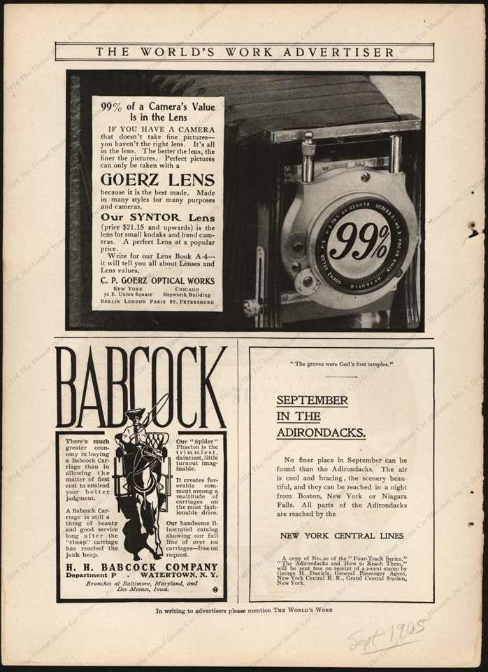 Babcock, H. H. Magazine Advertisement, Horse Carriages, September 1905, Worlds Work Magazine