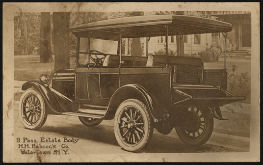 H. H. Babcock real photo post card advertisement, ca: 1915, for its truck bodies, front