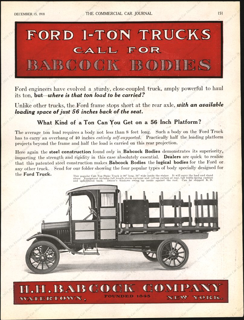H. H. Babcock Company, Watertown, NY, December 15, 1919, Commercial Car Journal, Page 151