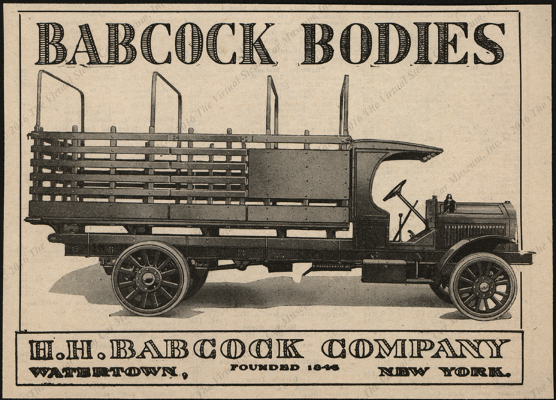 H. H. Babcock magazine advertisement, ca: 1920, Truck Bodies