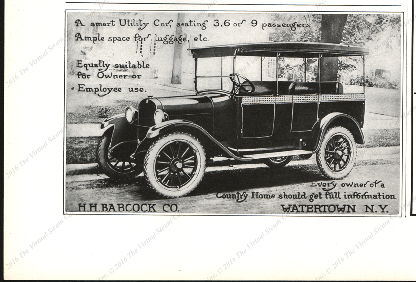 H. H. Babcock Magazine Advertisemenet, Country Life, February 1923, page 102