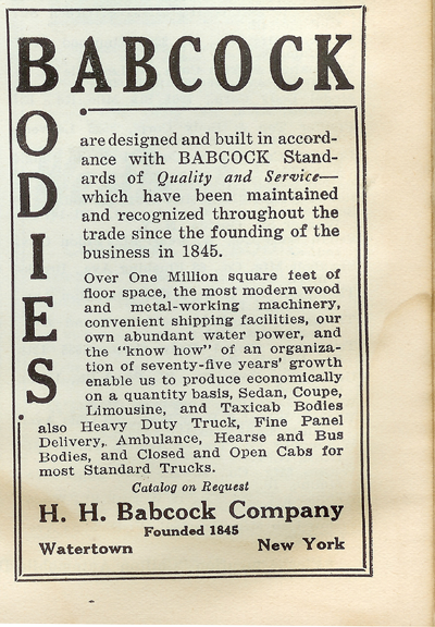 H. H. Babcock  Trade Jouranl Advertisement, Chilton's July 1925.